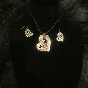 Vintage necklace and earring set, two tone hearts